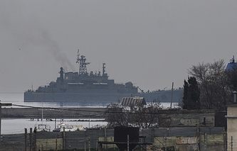Georgy Pobedonosets large amphibious assault ship enters one of the bays of Sevastopol in March 2014