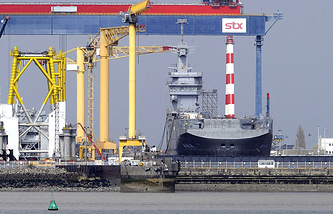 A Mistral class helicopter carrier ordered by Russia at the STX France shipyard in Saint-Nazaire