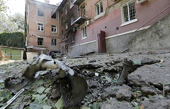 Destructions after a shelling attack on Luhansk
