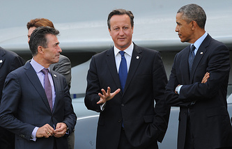 NATO Secretary General Anders Fogh Rasmussen, British Prime Minister David Cameron and US President Barack Obama