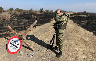 A Ukrainian soldier seen near the Russian border
