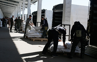 Russian relief aid unloaded in Ukraine