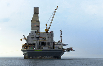 Oil and gas platform mounted on Sakhalin's shelf in the framework of the Sakhalin-1 project