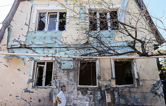 Aftermath of shelling on residential areas in Donetsk