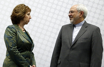 EU High Representative for Foreign Affairs and Security Policy Catherine Ashton and Iranian Foreign Minister Mohammad Javad Zarif