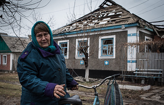 Destroyed house in Luhansk region