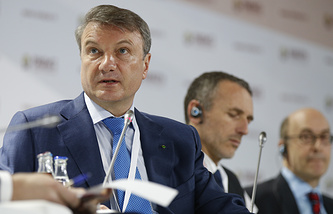 Sberbank CEO German Gref (front) at the 2015 Gaidar Forum