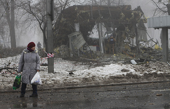 Donetsk's Kiev District after a shelling attack