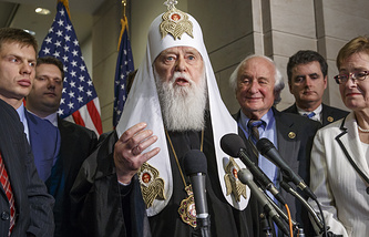 Patriarch Filaret, head of the Ukrainian Orthodox Church in Kiev, center, during a news conference on Capitol Hill