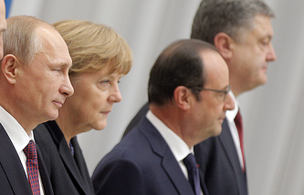 Russian President Vladimir Putin, German Federal Chancellor Angela Merkel, French President Francois Hollande and Ukrainian President Pyotr Poroshenko