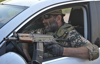 A soldier of Ukrainian Donbas battalion seen on 31 July, 2014