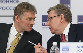 Russia's former Finance Minister Alexey Kudrin (right) and Vladimir Putin's press secretary Dmitry Peskov