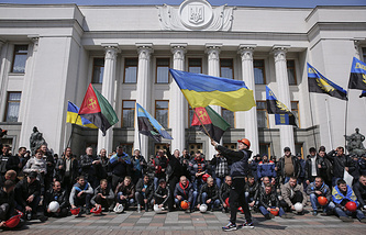 Miners protest in front of the Ukrainian parliament