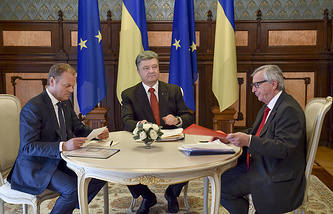 President of the European Council, Donald Tusk, Ukraine's president Petro Poroshenko and president of the European Commission Jean-Claude Juncker at the Ukraine-EU summit
