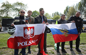 Russian and Polish bikers in Poland
