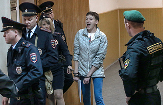 Nadezhda Savchenko escorted to court, May 6