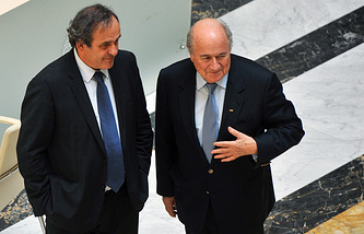 Michel Platini and Sepp Blatter