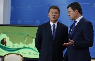 Gazprom CEO Alexay Miller and Russia's Energy Minister Alexander Novak