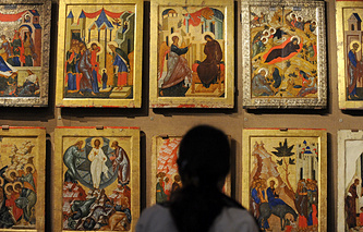 The icons on display in a museum