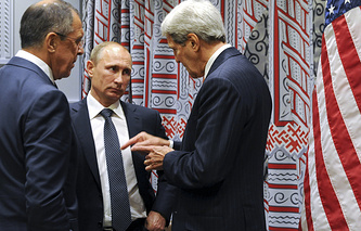 Russian Foreign Minister Sergey Lavrov, Russian President Vladimir Putin and US Secretary of State John Kerry