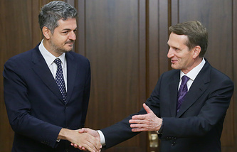 Vice President of the Italian Chamber of Deputies Simone Baldelli and Russian State Duma Speaker Sergey Naryshkin