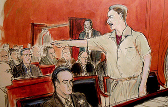 Viktor Bout portrayed in court