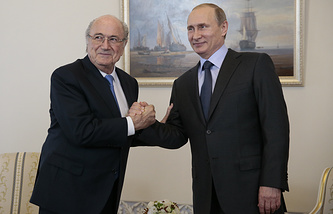 FIFA chief Sepp Blatter and Russian President Vladimir Putin