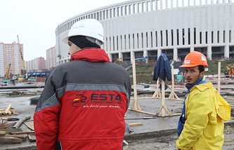 Workers of the Turkish construction firm ESTA Construction
