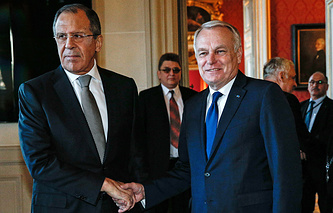 Russian Foreign Minister Sergey Lavrov and Minister of Foreign Affairs of France Jean-Marc Ayrault