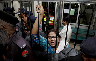 A woman at a local hospital in Lahore, Pakistan