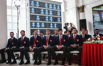 Members of the Russian men's national ice hockey team
