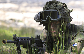 Soldier of Finland participating in NATO sea exercises