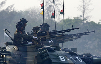 Myanmar military tanks