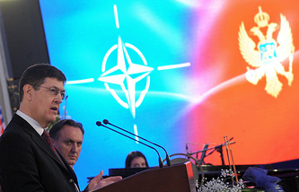 Secretary General of the NATO Parliamentary Asembly, David Hobbs speaking during the welcoming ceremony of Montenegro into NATO, December 3, 2015