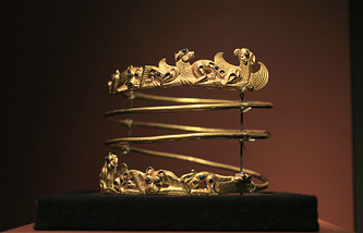 A spiraling torque from the second century A.D. displayed as part of 'Crimea: Gold and Secrets of the Black Sea' exhibition