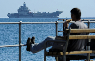 Russia's aircraft carrier (background) in the Mediterranean, archive
