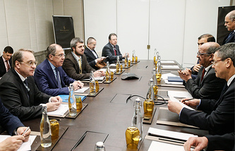 Russian Foreign Minister Sergey Lavrov at the Russian-Arab cooperation forum in Abu Dhabi
