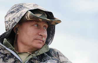 Russia's president Vladimir Putin during a fishing trip to a national nature reserve in Siberian Tyva, 2013