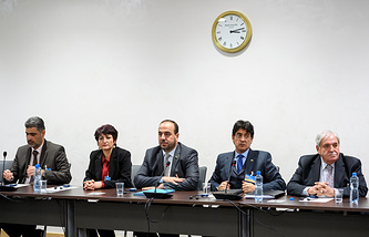 Syria's main opposition delegation with High Negotiations Committee, HNC, at Syria peace talks in Geneva