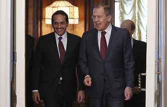 Qatar's Foreign Minister Mohammed bin Abdulrahman bin Jassim Al-Thani and Russia's Foreign Minister Sergei Lavrov