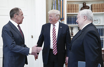 Russia's Foreign Minister Sergei Lavrov, US President Donald Trump and Russia's Ambassador to the United States Sergei Kislyak