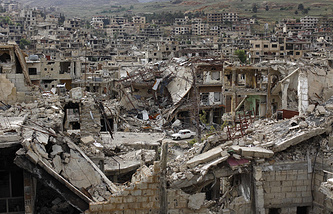 Damaged streets at the mountain resort town of Zabadani in the Damascus countryside, Syria