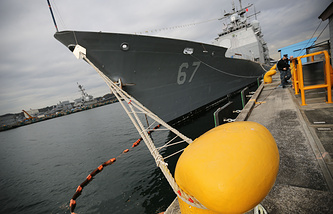 US Navy's guided-missile cruiser docks at a wharf in Yokosuka, Japan
