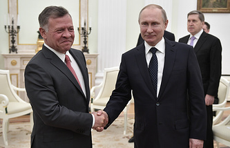 King Abdullah II of Jordan and Russian President Vladimir Putin