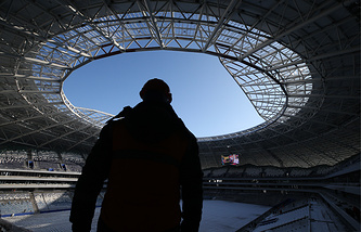 A worker at the construction site of Samara Arena, one of the venues of the upcoming 2018 FIFA World Cup