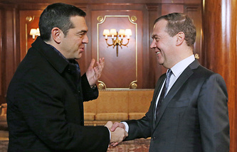 Greek Prime Minister Alexis Tsipras and Russian Prime Minister Dmitry Medvedev