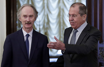 UN Secretary-General's Special Envoy for Syria Geir Pedersen and Russian Foreign Minister Sergey Lavrov