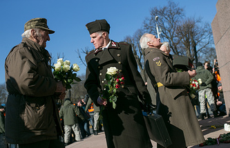 Ex-Waffen-SS members taking part in a march in Riga