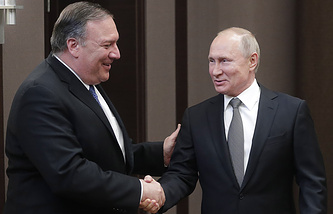 US Secretary of State Mike Pompeo and Russian President Vladimir Putin