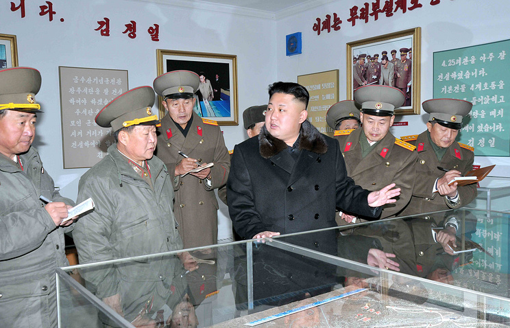 North Korean leader Kim Jong-un inspecting the Designing Institute of the North Korean People's Army (KPA) in Pyongyang